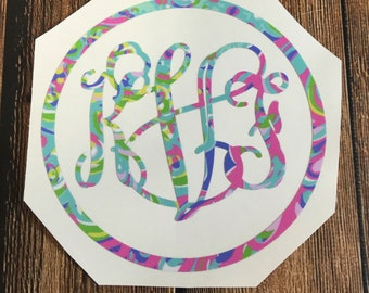 Preppy monogram decal vinyl stickers initials 12 designs