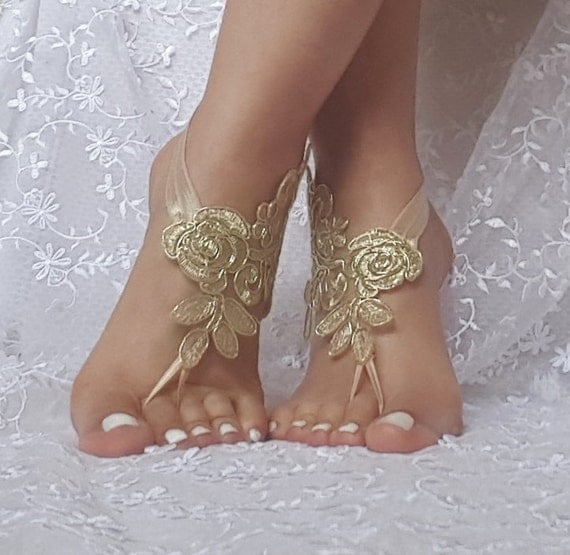 Gold beach sandals barefoot lace  free ship bridal  burlesque wedding shoe sexy bellydance show party beachlife