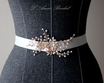 Bridal Sash Belt ,Wedding Dress Sash Belt , golden Crystal Rhinestone Dress Sash Belt , pearl Wedding Sash belt , Bridal Belt , Bridal Sash