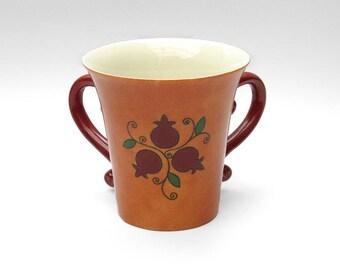 Large Natla, Ceramic Natla, Jewish gift, Judaica, Ceramic Washing Cup, Netillat Yadayim Cup, Judaica gift