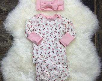 Baby Layette Gown -Newborn Girl Gown in Blush Rose/Girl Coming Home