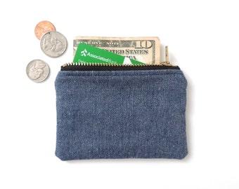 Coin Purse Wallet Zipper Pouch Blue Denim SALE