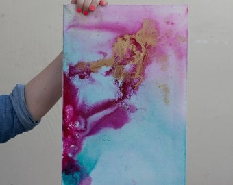 Original Abstract gold, hot pink, turquoise, teal, purple ink painting