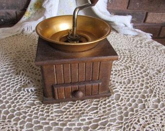 Vintage Coffee Grinder Wood and Aluminum Top.