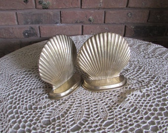 Vintage Brass Clam Shell Bookends.