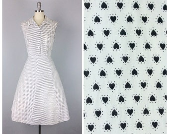 50s Heart Print Cotton Day Dress / 1950s Vintage Black & White Novelty Print Sun Summer Dress / Large / Size 10