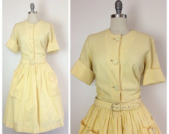 50s Pastel Yellow and White Striped Day Dress / 1950s Vintage Pinup Shirt Waist Dress With Pockets / Large / Size 4