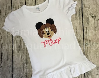 Appliqued Madness Custom Disney inspired Girls Minnie Mouse as Star Wars Princess Leia Shirt or Baby One Piece