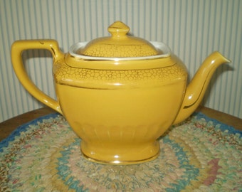 Vintage yellow Hall tea pot- hall teapot and lid- yellow square tea pot