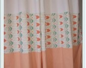 Valentines Sale Custom Color/Pattern Blocked Spoonflower Fabric Curtains, Arrow, Peach, Coral, Mint Color Blocked, Nursery Curtains