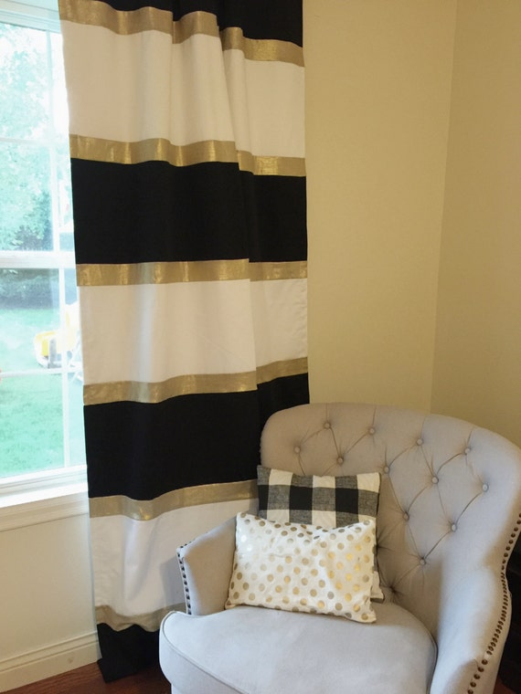 Custom Black White and Gold Striped Curtains by FrostingHomeDecor