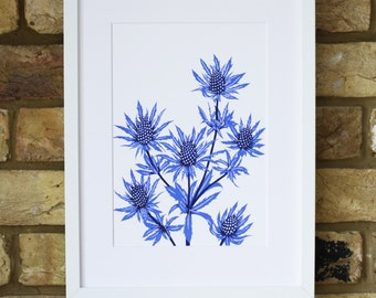 screen print - sea holly print - limited edition print - wildflower screen print - sea holly flower print - cobalt blue art