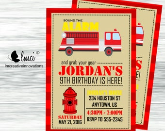 Firetruck Birthday Invitation - Digital File