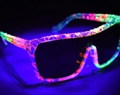 Blacklight UV Glow Party Rave Sunglasses // Clear ZEFF Frame with Tropical Party Splatter Paint // Fire Revo Lens