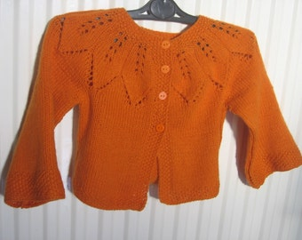 Toddler Hand Knitted Orange Cardigan. Size 24 Months. Made to Order.