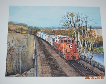 8 X 10 Illinois Central RR Print By Colleen Carson Limited Edition Signed & Numbered Giclee Print IL Central RR Print