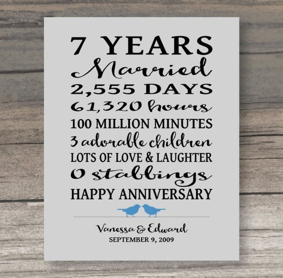 Wedding Gift Card Quotes: 7 Year ANNIVERSARY GIFT Funny Anniversary Gift For Spouse Art