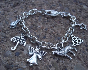 """Doctor Who """"Small Silver Charms"""" Bracelet on 8.5  inch Link .925 Sterling Silver Chain"""