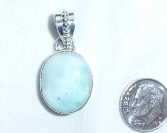 "Vintage Genuine Larimar Blue Solid Sterling Silver Swinging Bail 1-3/8"" Long Oval Big Large Bale Never Worn 20mm by 16mm Gem Dominican"