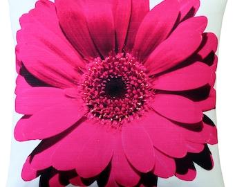 Bold Daisy Flower Pink Throw Pillow 20X20