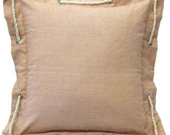 Nautical Sandy Beige Cotton Throw Pillow 16x16