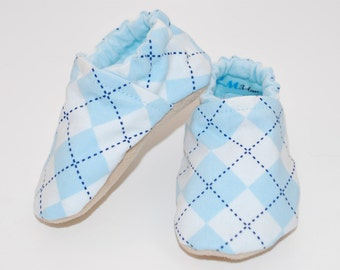 Blue Argyle Soft Sole Cloth Baby Shoe