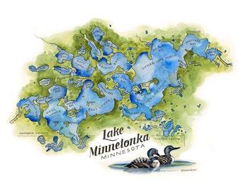 Lake Minnetonka Map // ILLUSTRATION // 14x11
