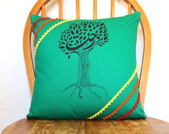 Boho Pillow Cover - Persian Calligraphy Cushion Cover - Tree Pillow Cover - Pillows - Green Cushion Cover -  Accent Pillow Cover