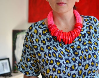 Red necklace, neon accessories, bright necklace, red statement necklace, special necklace, chunky necklace, neon jewelry, bib necklace