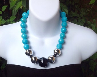 Chunky Turquoise necklace. Large turquoise necklace. Statement necklace.