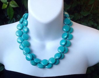 Chunky Turquoise Necklace. Turquoise Neckace. Double Strand Turquoise Necklace. Coin Turquoise Necklace. Matching Earrings.