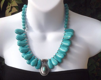 Chunky Turquoise Necklace. Teardrop turquoise necklace. Western necklace.