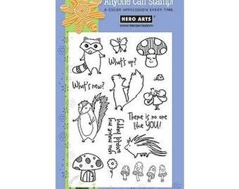 Hero Arts WOODLAND CREATURES MUSHROOM Racoon Porcupine squirrel Stamp Set Clear Acrylic Stamp Set Mx261 cc02