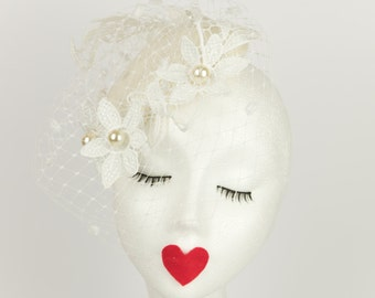 May Bridal fascinator - white loveheart- spot veiling - lace flowers- cream beads- wedding