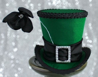 Green Mini Top Hat, St-Patricks Day Hat, Mini Hats, Tea Party Hat, Mad Hatter Hat, Fascinator, Top Hat, Women Mini Top Hat, Women Fascinator
