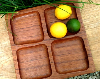 Mid century Reducta Teak snack serving tray, Teak snack tray, Mid century modern teak snack dish Mid Century Vintage partitioned snack tray