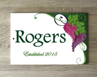 Grapes custom sign for home, Personalized sign, Outdoor custom sign, Family name sign, Personalized house sign