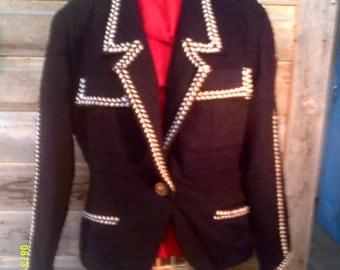 Woman's Vintage Black Wool Blazer, size 9, by Against Gravity, Western Blazers 8, Wool Blazer 10, Womens Blazers 10, Black Blazer 10