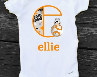 Star Wars Baby Onesie with BB8 Monogram Personalized Star Wars Bb8 Onesie Baby Girl Toddler Girl Star Wars Bb 8 Monogram in Orange or Pink