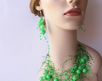 Vintage Bubble Earrings Green