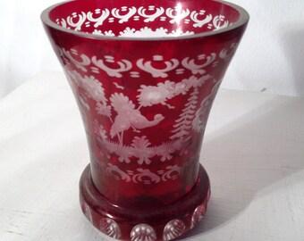 Vintage Biedermeier etched Glass - Jahrgang Biedermeier geätzten Glas