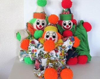 3 Vintage Clowns, Handmade