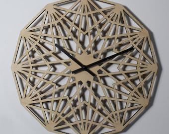 "18"" Dodeca Star WALL CLOCK Modern Laser Cut Wood"