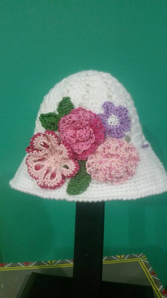 Spring Cloche Panama Hand Beaded Flower Crochet Hat