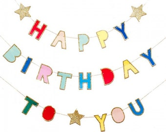 Happy Birthday To You Banner - Party Supplies Meri Meri party happy birthday banner Happy birthday garland