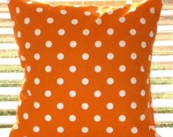 SALE Pillow Cover, Pillow, Orange Pillows,  Decorative Throw Pillow, Decorative Pillow, Polka Dots, Chevron