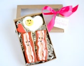 """Bacon and eggs cookies gift box set """"We're Better Together"""""""