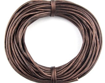 Brown Metallic Round Leather Cord 1mm 10 Feet