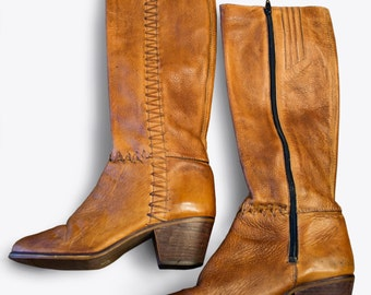 Vintage Leather Knee High Boots with Chevron Laces 8.5