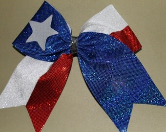 Cheer Bow Red White and blue